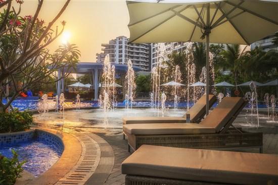 三亞麗禾溫德姆酒店-日暮夕陽-酒店泳池噴泉