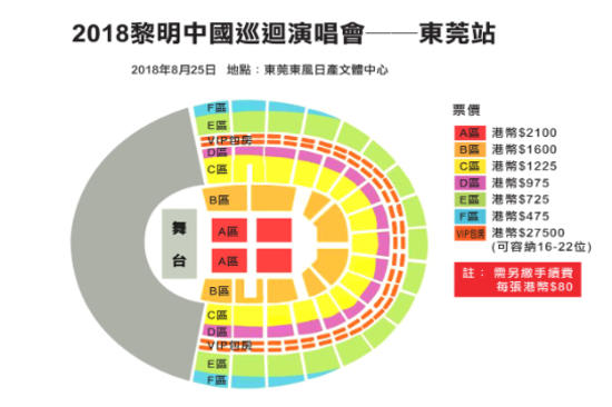 黎明演唱會座位表